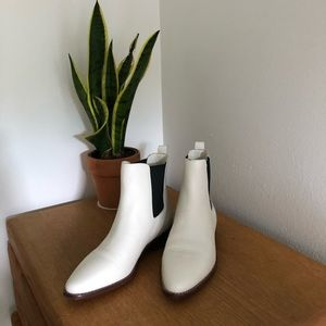 J.Crew White Leather Chelsea Booties size 7.5 NEW